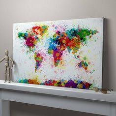Paint splashes world map art print paint splash and printing paint splashes world map art print gumiabroncs Images