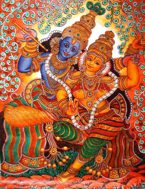 Krishna earthy rustic pinterest krishna kerala for Mural radha krishna
