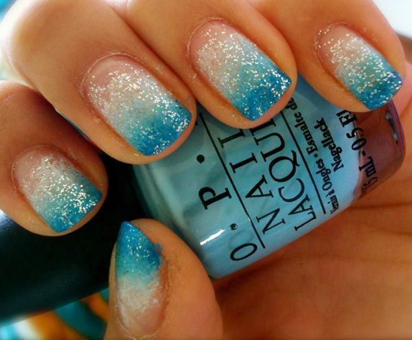 Turquoise and silver nails turquoise glitter gradient nails simple nail designs prinsesfo Choice Image
