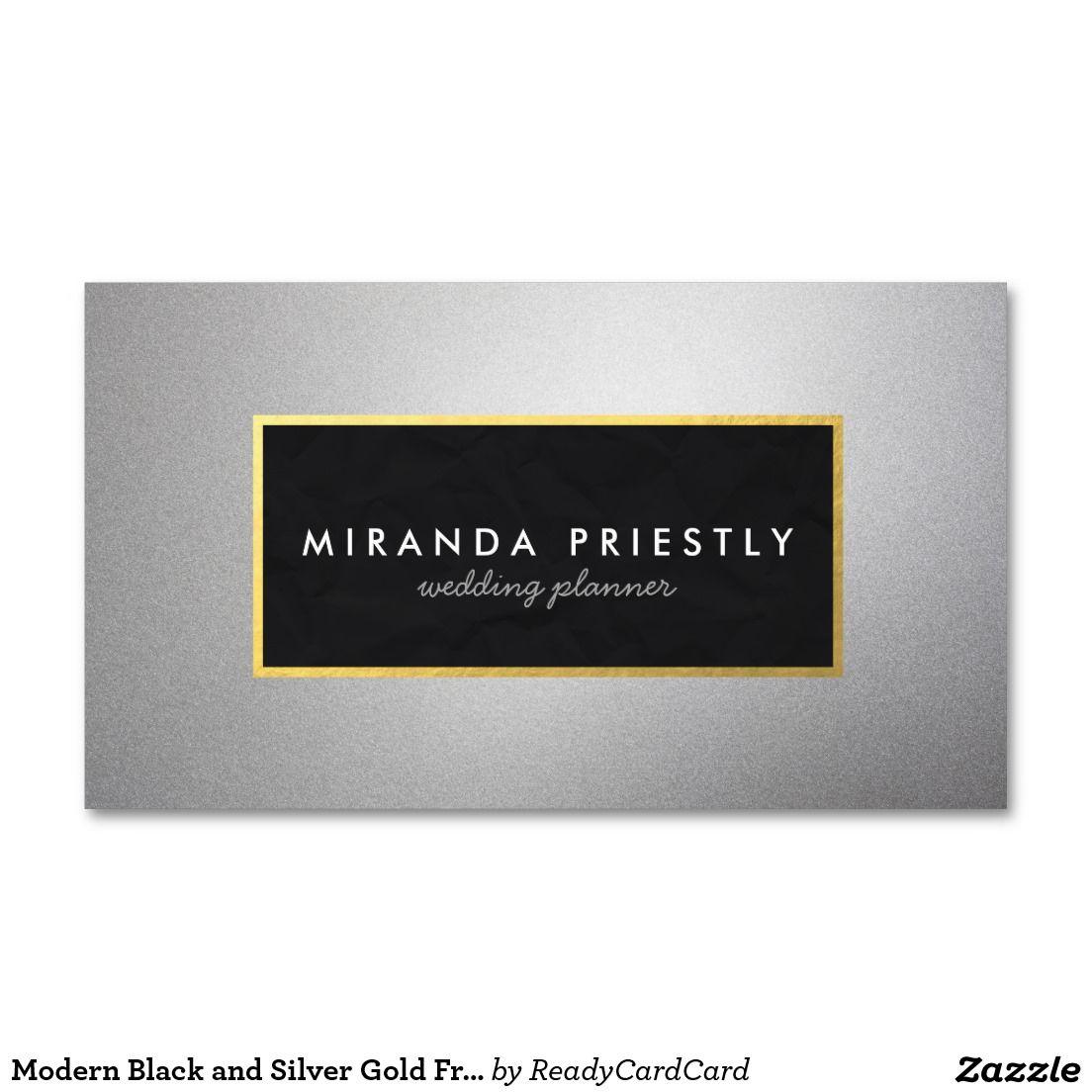 Modern Black and Silver Gold Frame Wedding Planner Business Card ...