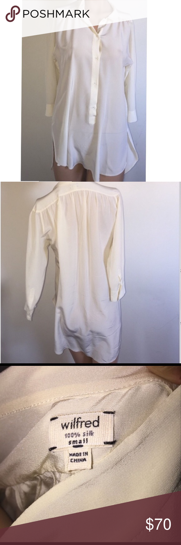 2e85bcdf34f35 Wilfred Aritzia ivory 100% silk Giulia blouse Size small 100% silk blouse  worn once. Like-new condition! Aritzia Tops Blouses