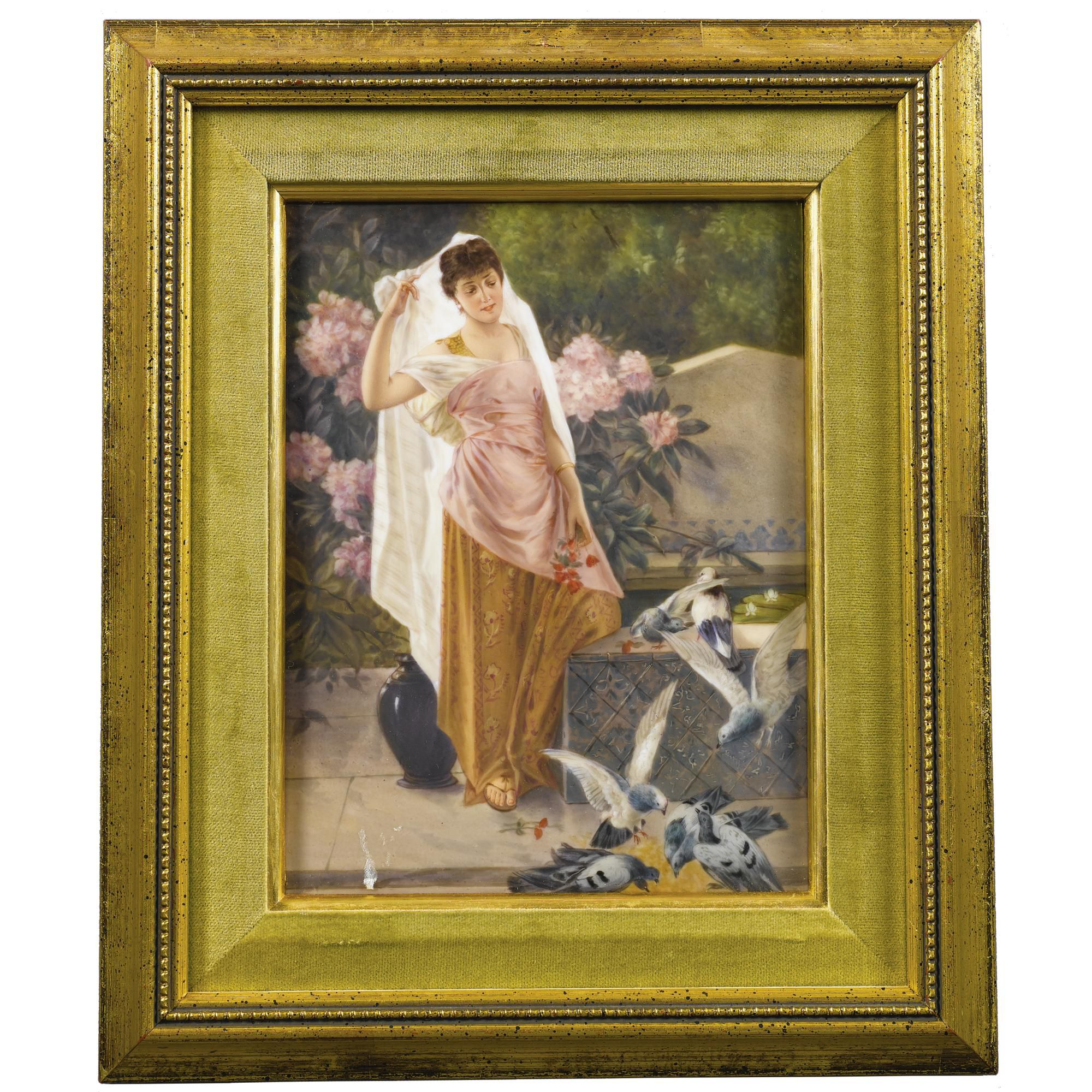 A KPM porcelain painted plaque of a Greek maiden with