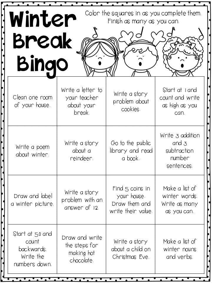 winter break homework everything elementary homework bingo holiday break winter activities. Black Bedroom Furniture Sets. Home Design Ideas