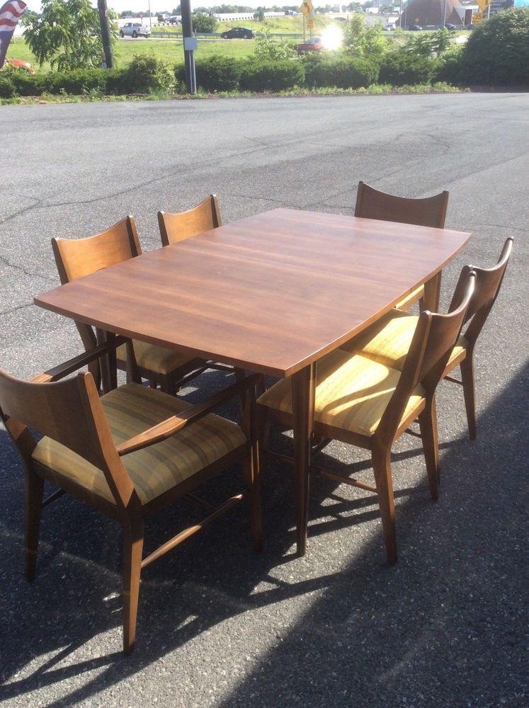 Broyhill Saga Dining Room Set 2 Arm Chairs 4 Side Extra Board Mcm Mid Century Teak Outdoor Furniture Outdoor Garden Furniture