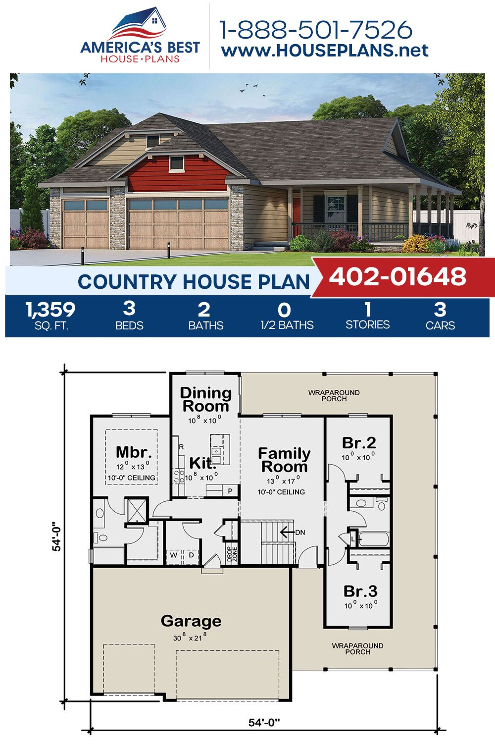 House Plan 402 01648 Country Plan 1 359 Square Feet 3 Bedrooms 2 Bathrooms In 2020 House Plans Narrow House Plans Country House Plans