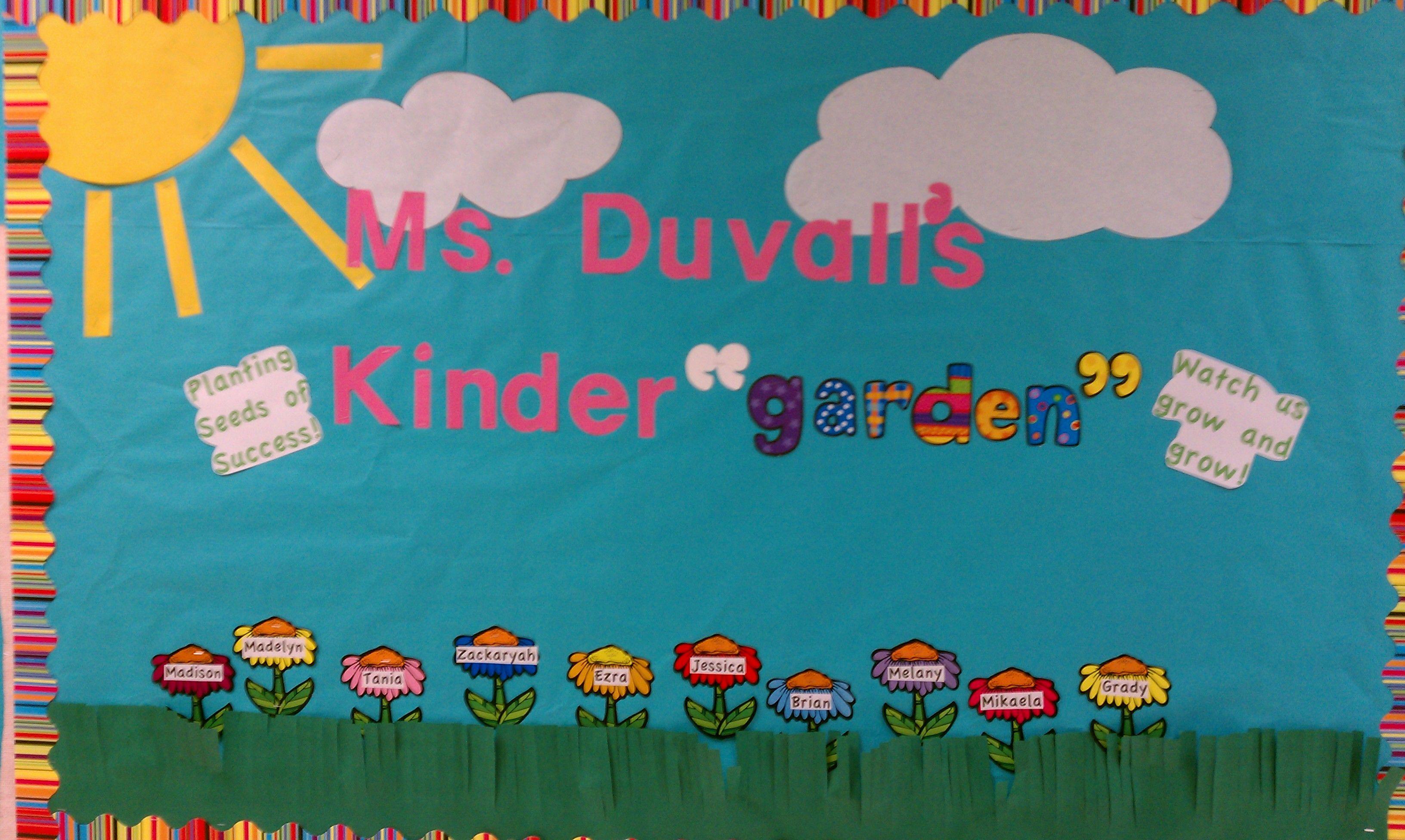 kindergarten kinder garden bulletin board school stuff pinterest garden bulletin boards. Black Bedroom Furniture Sets. Home Design Ideas