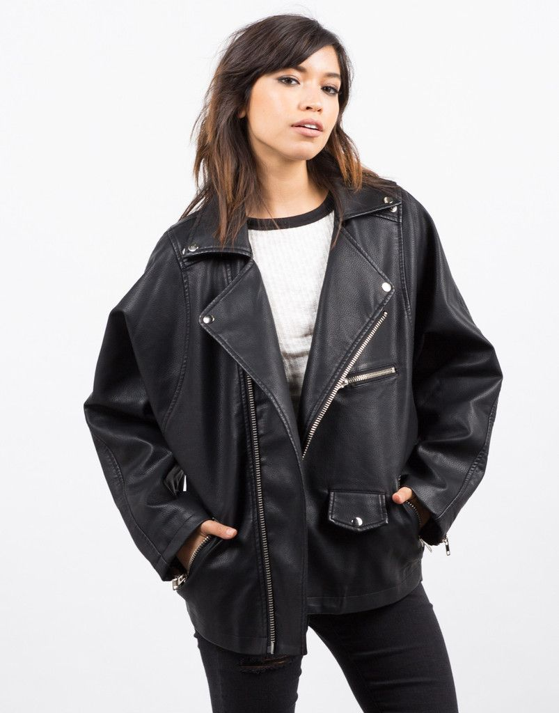 51af12ee807 Oversized Leather Jacket - Black Jacket - Faux Leather Jacket – Outerwear –  2020AVE