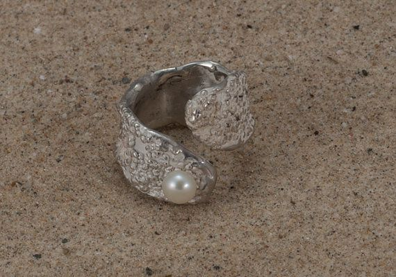adjustable sterling silver freshwater pearl  ring by NyamiJewelry, $200.00