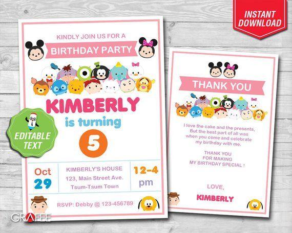 Tsum Tsum Invitation 5x7 Editable Text Tsum Tsum