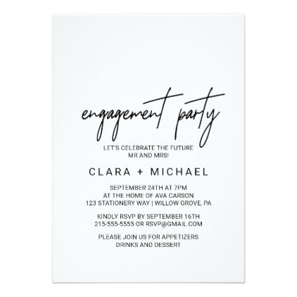 Whimsical Calligraphy Engagement Party Card | Engagement, Engagement ...
