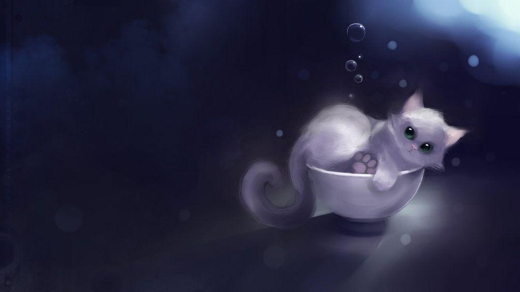 White Cat Anime By Ilirisesther Art Kitten Wallpaper Cat Illustration