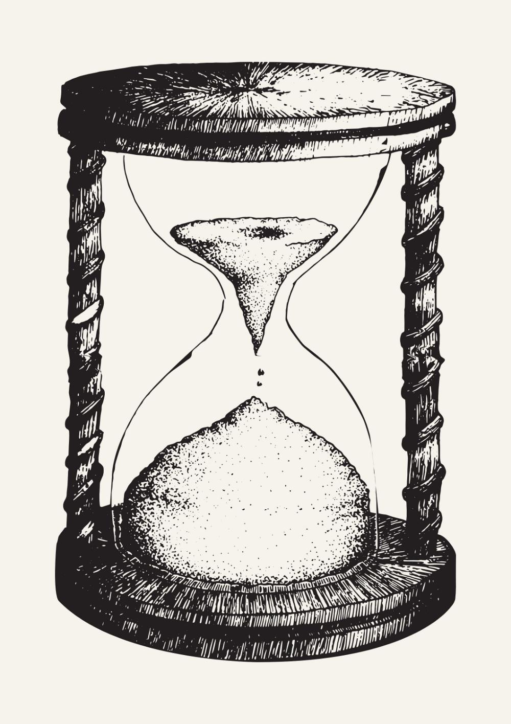 Hourglass Art Print Sand Timer Illustration Vintage Decor Print Minimal Art Black And White Scandinavian Poste Vintage Art Prints Sand Timers Sand Drawing