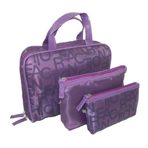 kenneth cole reaction logo print 3 pc cosmetic overnight