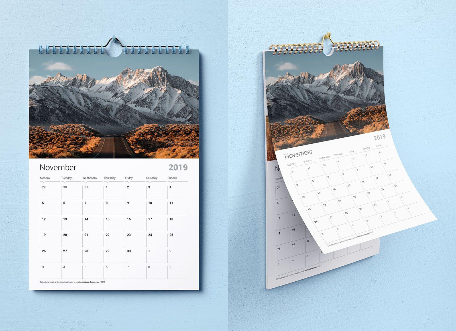Free Premium Wall Calendar Mockup Psd Template Set 2019 Wall Calendar Design Wall Calendar Psd Templates