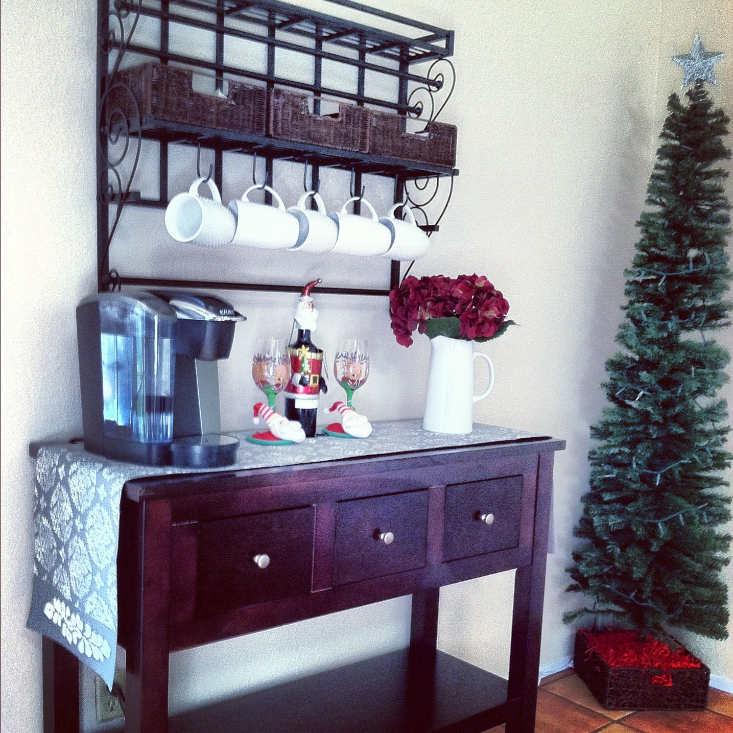 Coffee bar. Wall mount from bed bath and beyond. Buffet from amazon ...