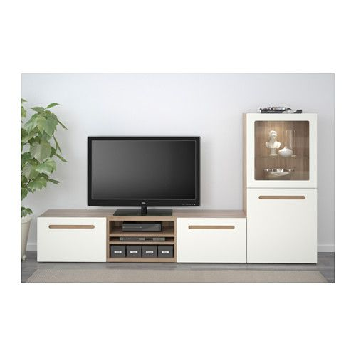 Best Tv Storage Combination Glass Doors Walnut Effect Light Gray Marviken White Clea