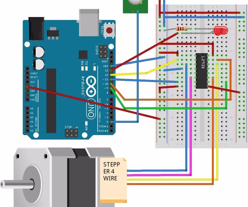 Pir Sensor With Arduino Activate Stepper Motor Projects