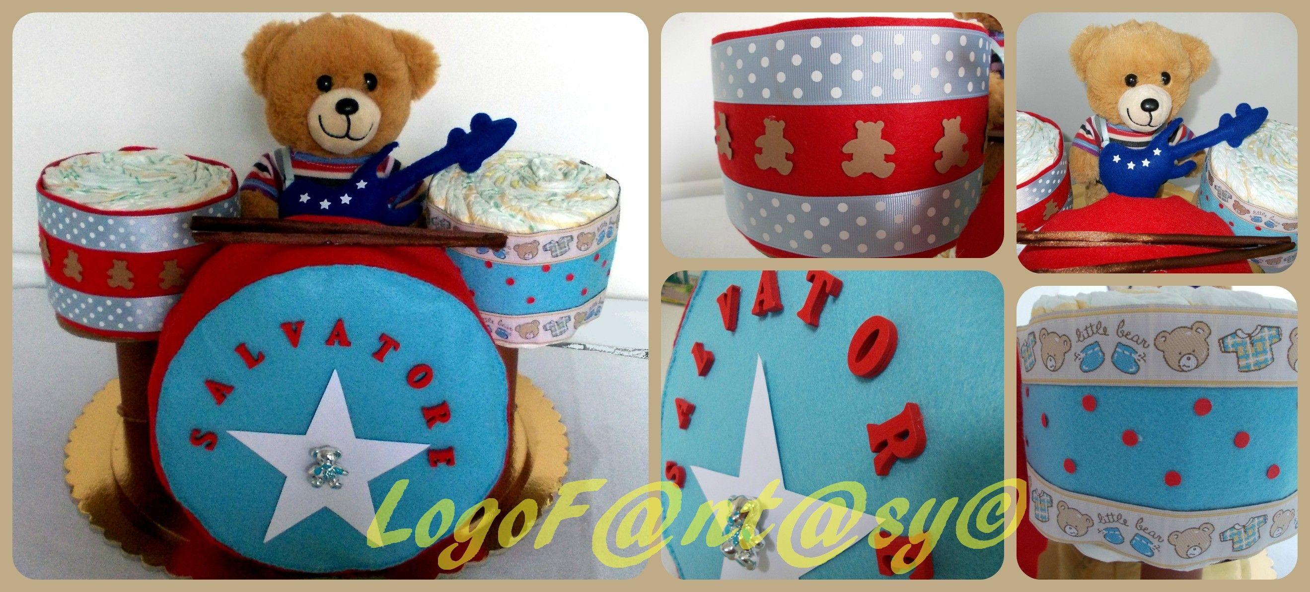 collage batteria di pannolini - drum diaper cake