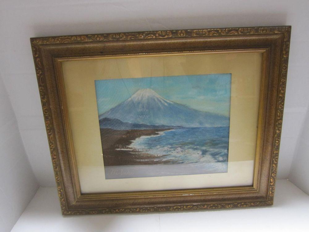 SIGNED Vintage Old Japanese Mt Fuji Sand Painting 14 X 18 FRAMED 1952 A12 #Asian