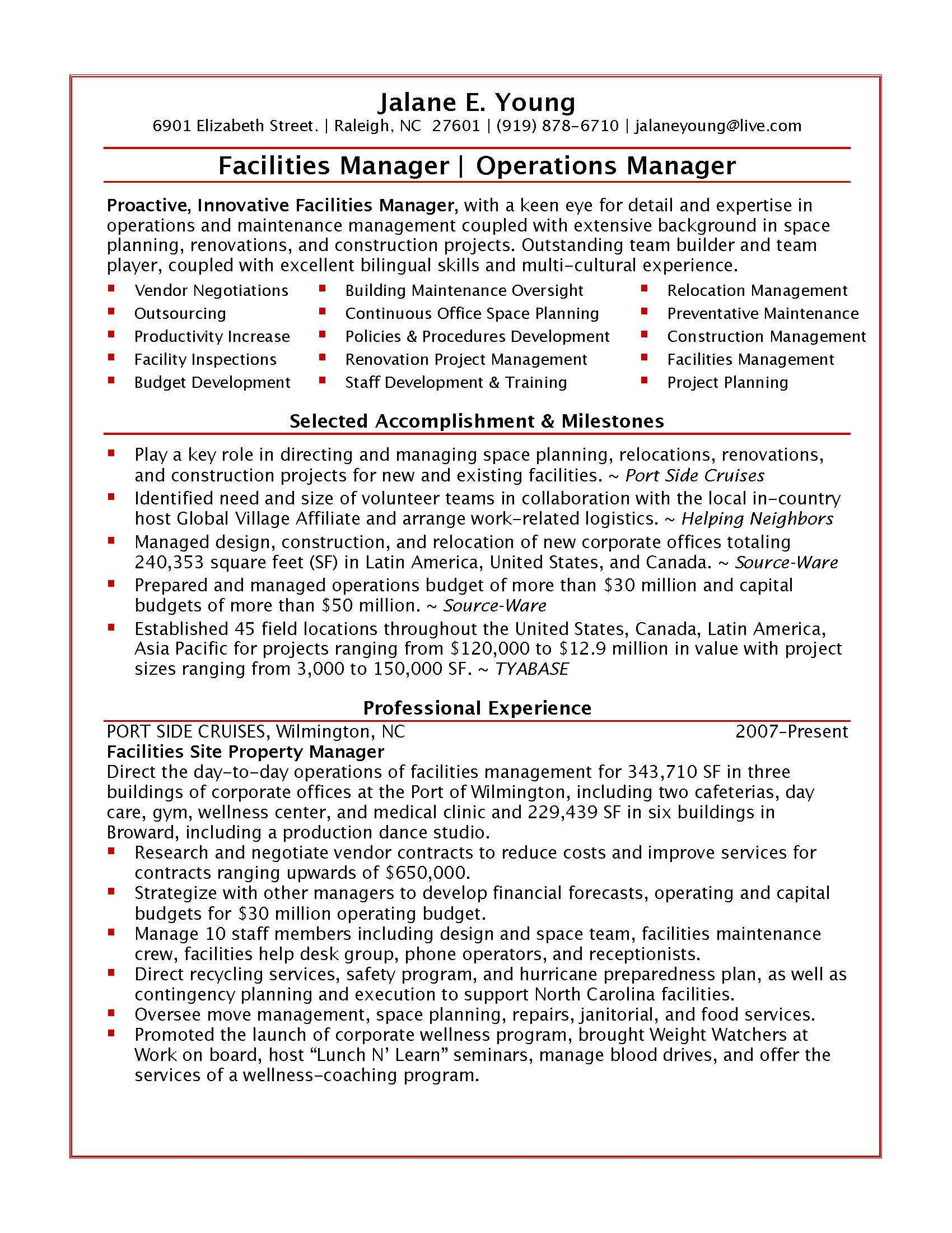 Sample Operations ManagerPage   Resumes
