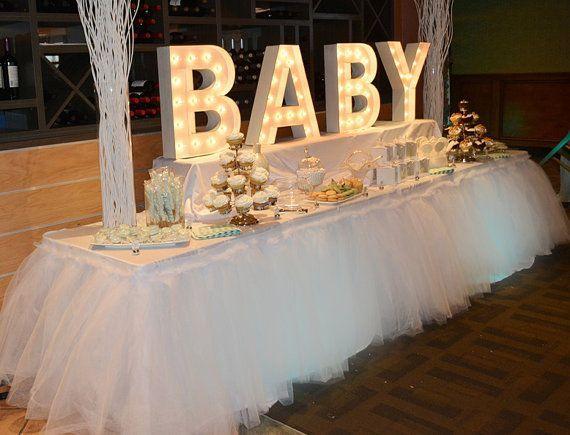 Adorno U201cBABYu201d Con Luces | Manualidades Para Baby Shower. Tutu  CenterpiecesBaby ...