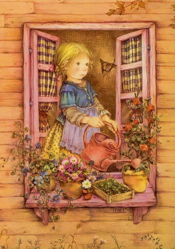 Lisi Martin ART - Hay que regar las plantitas del alfeizar dla ventana...