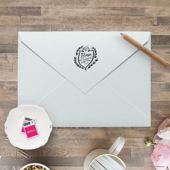 self inking return address stamp wedding invitation stamp save the date stamp monogram - Wedding Invitation Stamp