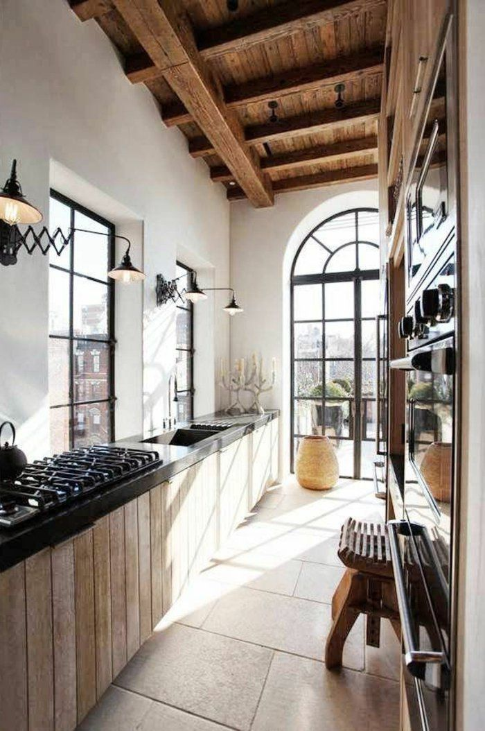 La poutre en bois dans 50 photos magnifiques! Architecture design - couleur cuisine avec carrelage beige