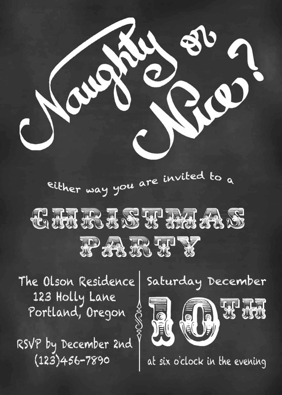 Naughty Christmas Party Ideas Part - 42: Christmas Invitation, Christmas Party Invitation, Chalkboard Christmas  Card, Printable, Naughty Or Nice Christmas