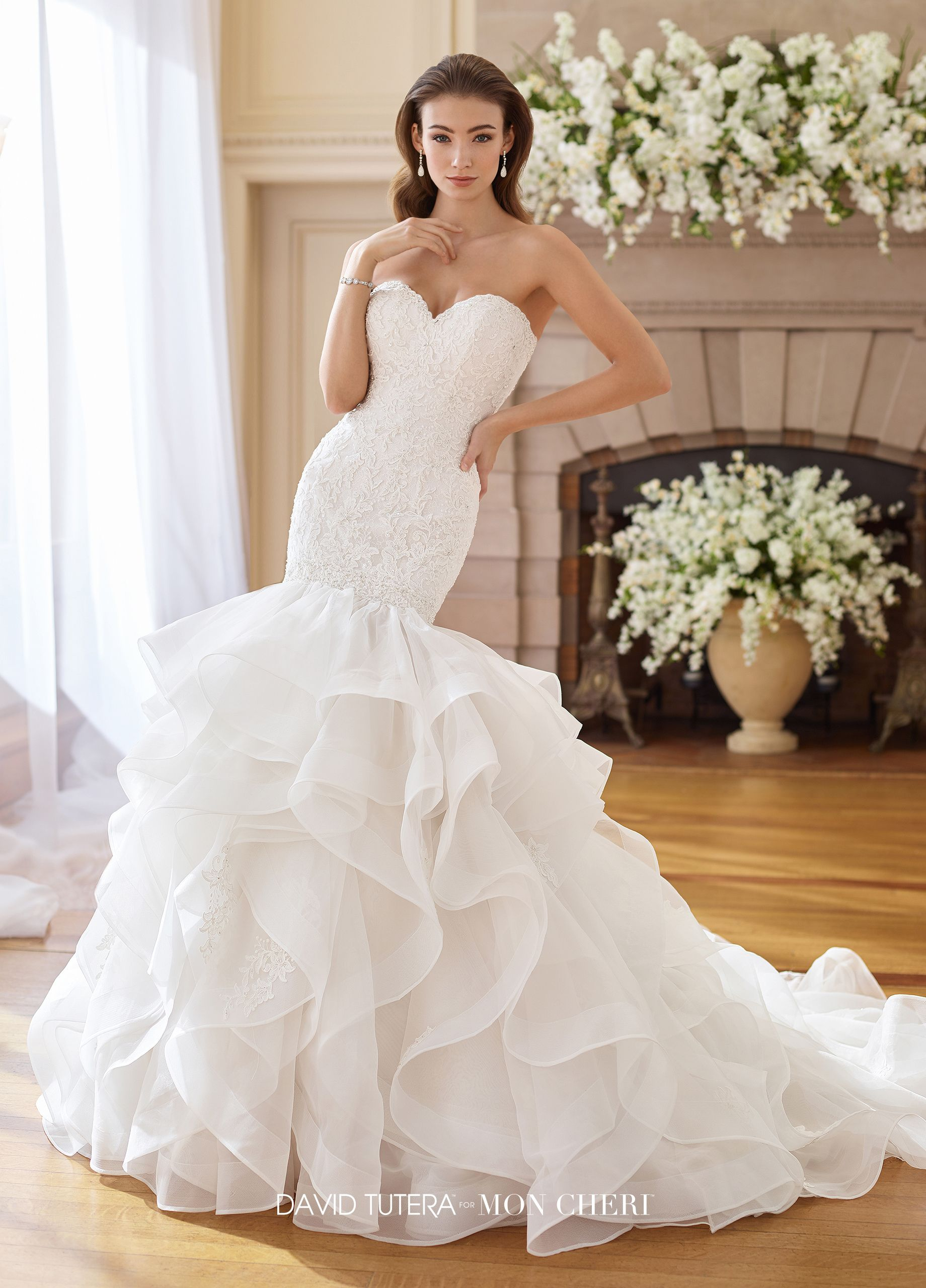 16426d49166c 217227 Inez - Strapless organza trumpet gown with sweetheart neckline,  hand-beaded lace bodice