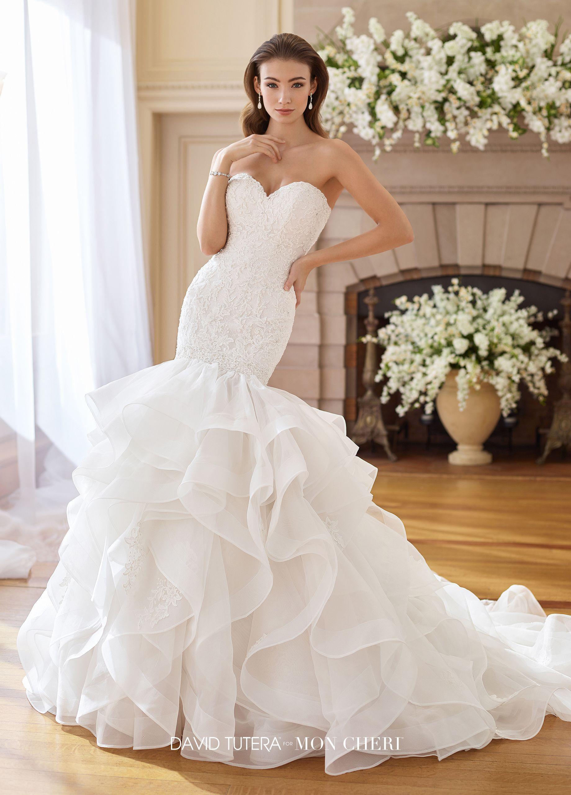 Atlanta wedding dress shops  Strapless Trumpet Wedding Dress with Organza Ruffle Skirt