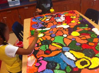 Kindergarten collaborative shape mural