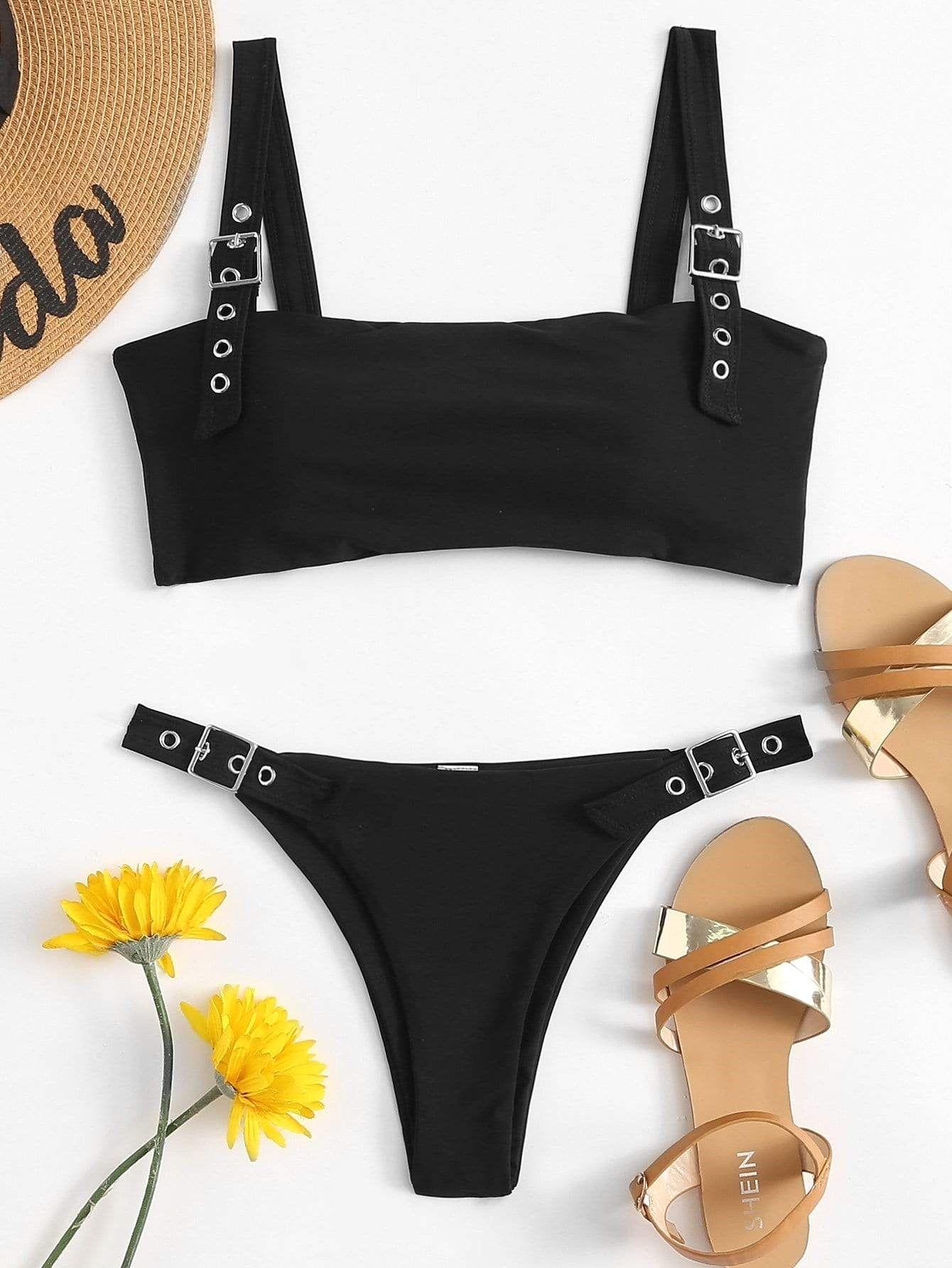 ef5e50c434 Buckle Top and High Leg Bikini Set in 2019 | Bathing Suits | Bikinis, High  leg bikini, Swimwear