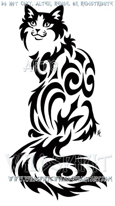 Pinterest Watercolor Cat Tattoos Tribal Kitty Sitting
