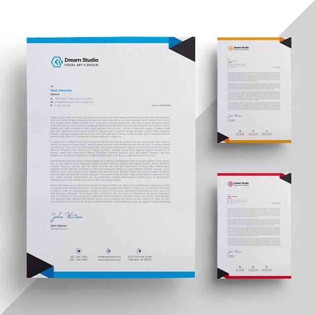 Letterhead Template Design Business Identity Corporate Layout