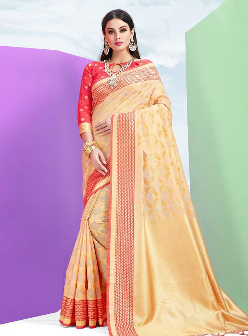 8acacba37c Buy Beige Cotton Silk Saree With Blouse 148805 with blouse online at lowest  price from vast collection of sarees at Indianclothstore.com.