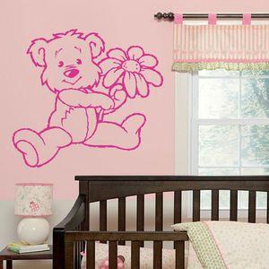 LARGE NURSERY TEDDY BEAR BABY WALL ART MURAL STENCIL STICKER TRANSFER POSTER