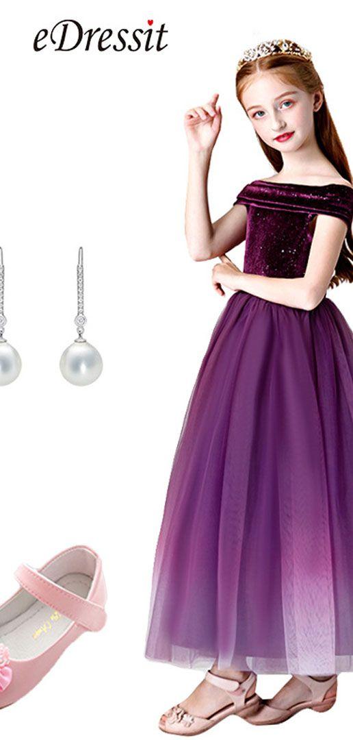 eDressit Purple Off Shoulder Wedding Flower Girl Dress ...