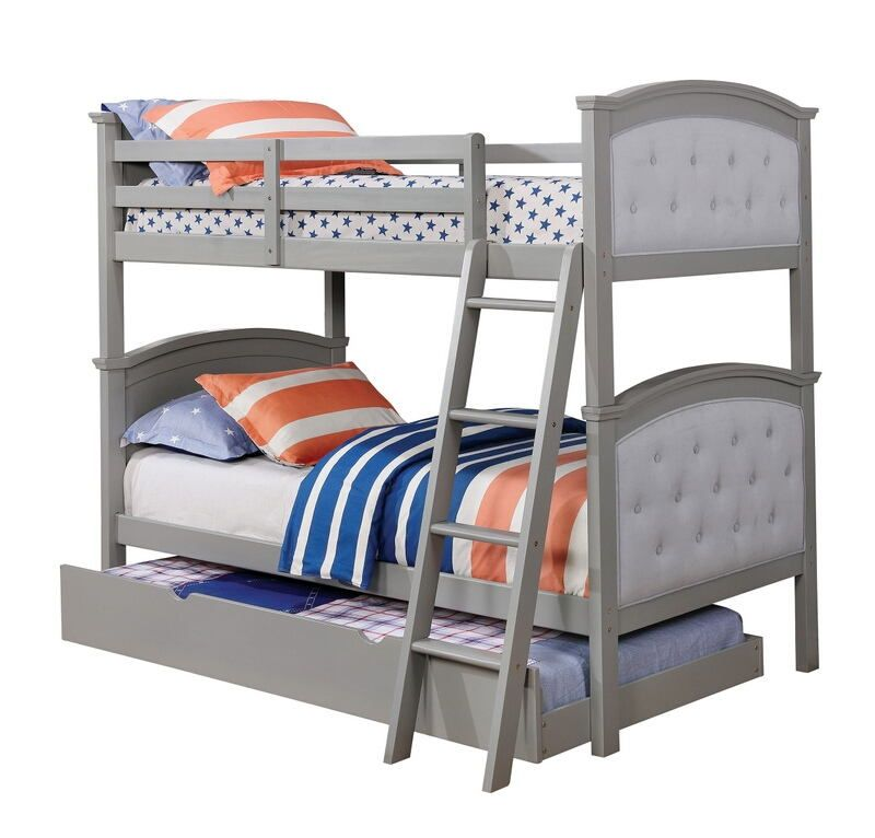 Freda Collection Twin Over Twin Gray Finish Wood And Padded And