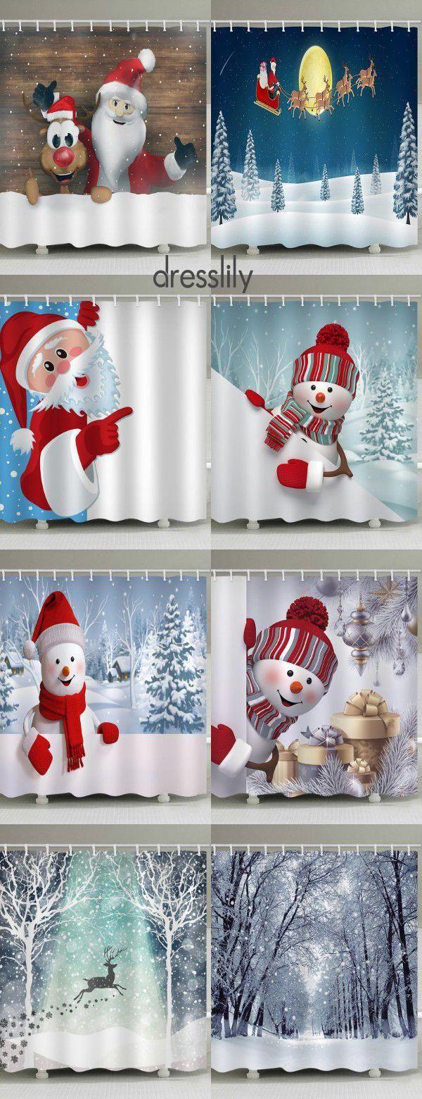 Dresslily Christmas Shower Curtains You'll Love in 2019! #dresslily #bathroom #showercurtains #christmas #decoration #xmasdecor #snowman #christmasbathroomdecor