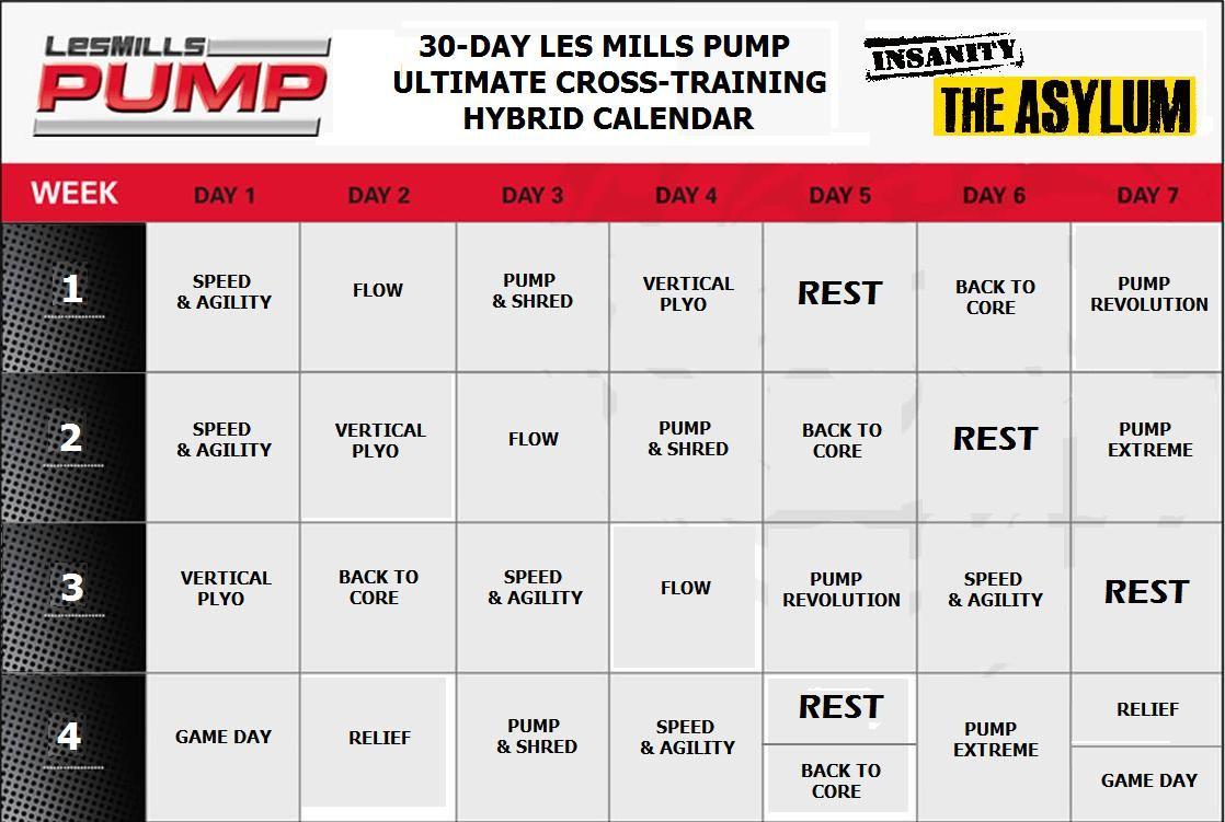 30-day Les Mills Pump / Asylum hybrid schedule | Hybrid ...