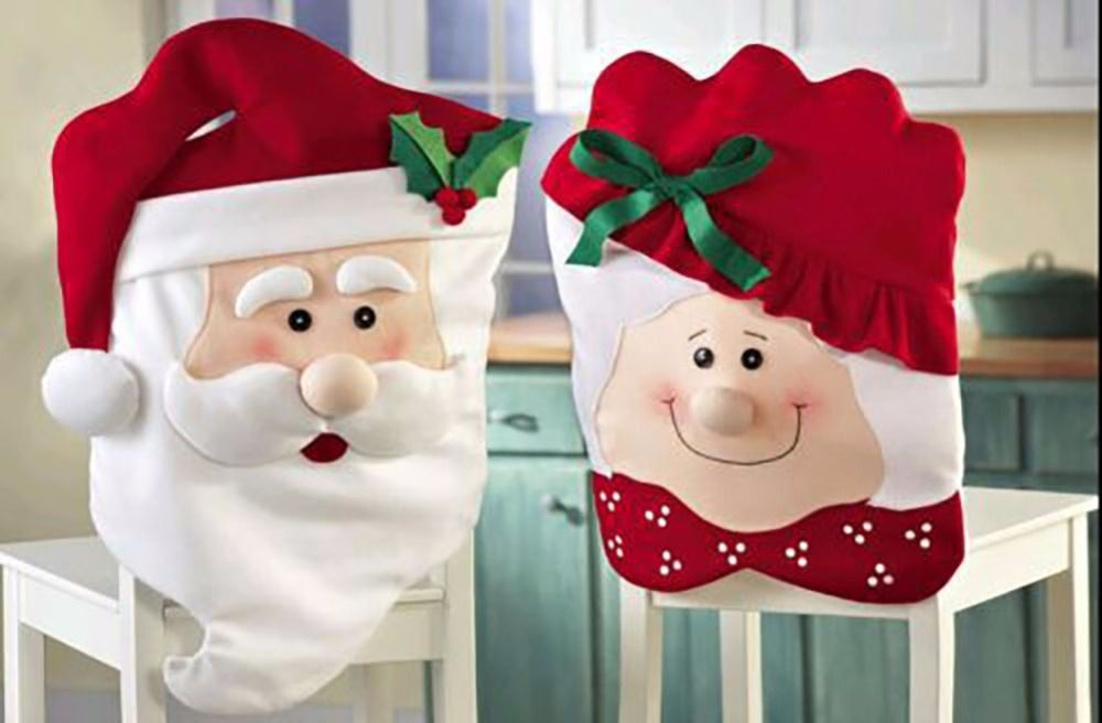 pack of 2 christmas dinner decor mr mrs santa claus christmas kitchen chair