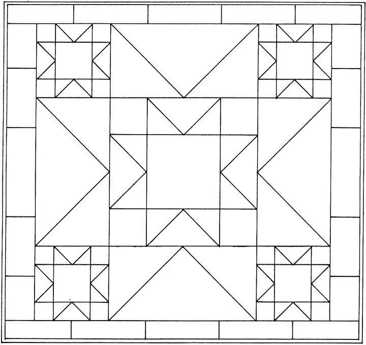 Quilt Block Coloring Pages Patterns Steppmuster Quilts Kostenlos Geometrische Malvorlagen