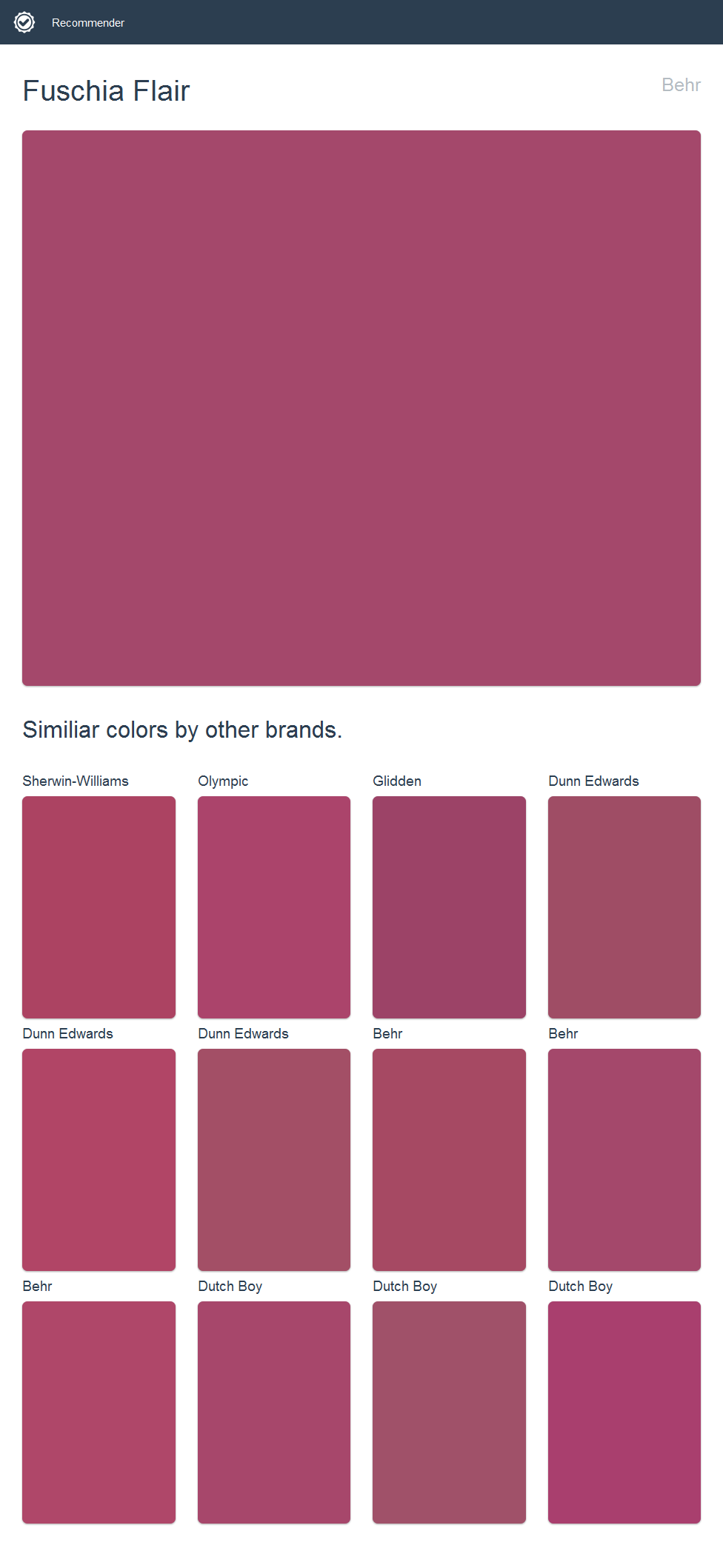 Fuschia Flair, Behr. Click the image to see similiar colors by other ...