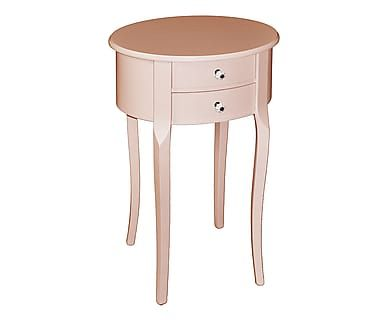 Comodino ovale a 2 cassetti in legno rosa antico, 43x66x34