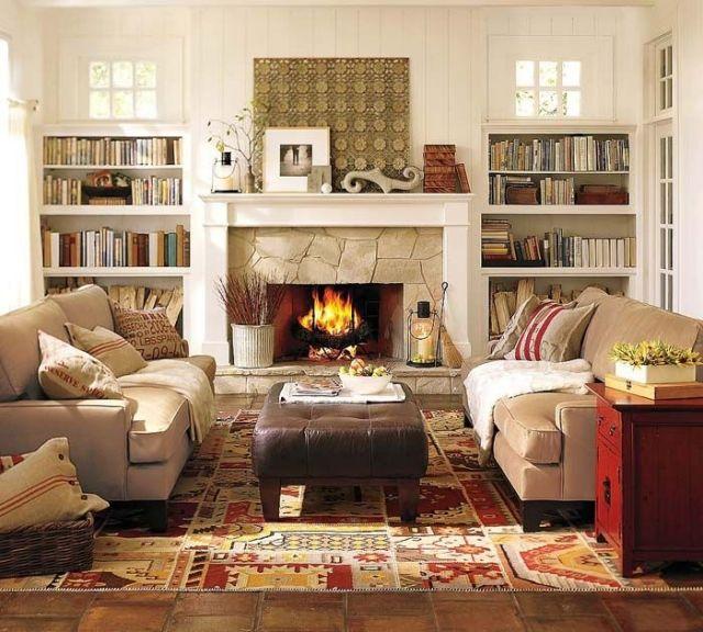 wohnzimmer-landhausstil-rustikal-steinkamin-herbstfarben - wohnzimmer im landhausstil dekorieren