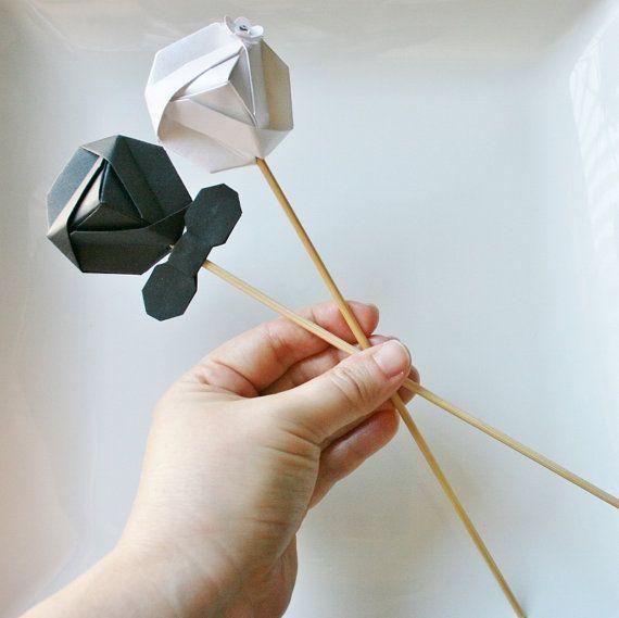 Origami Wedding Diamond Couple Cake ToppersHandmade DiamondOrigami TopperOrigami