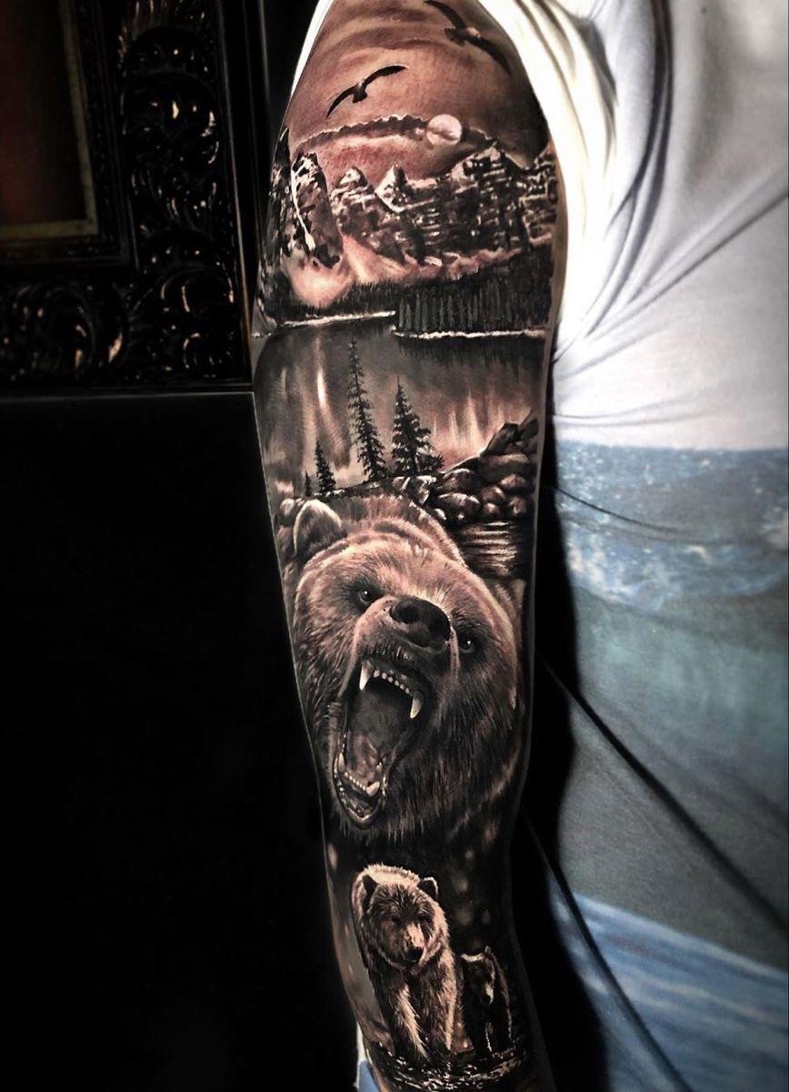 Bear Family Nature Sleeve Tatuajes De Osos Tatuajes De Animales
