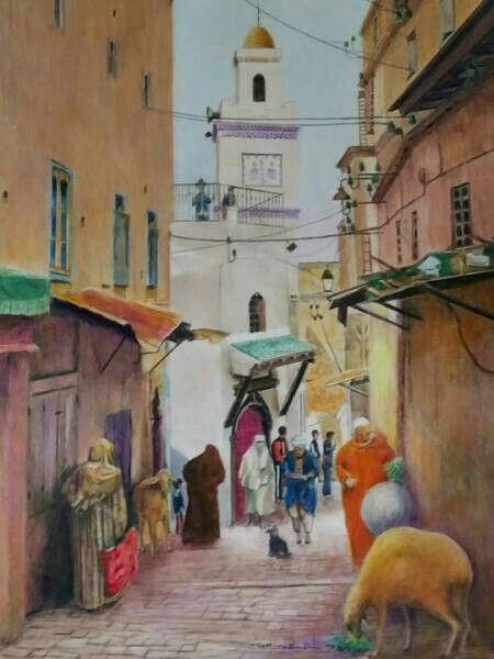 Une Rue De Casbah D Alger Peinture Aquarelle Jacques
