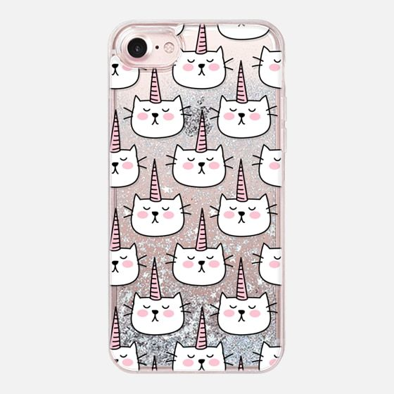 Caticorn Cat Unicorn Pattern - White Pink Black - Transparent - Glitter Case